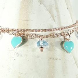 Bracciale in argento 925 con bagno in oro puro (rosa)